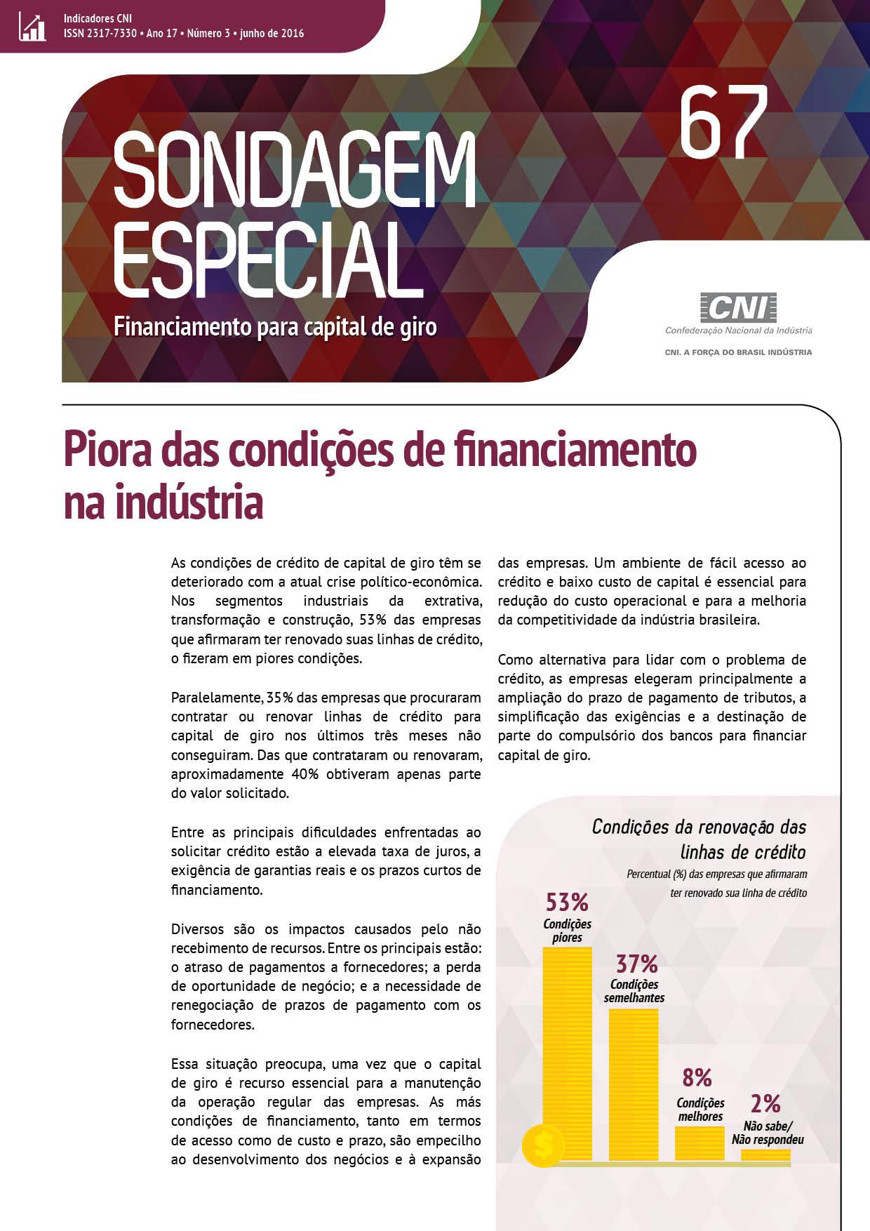 SondEsp 67 - Financiamento para Capital de Giro