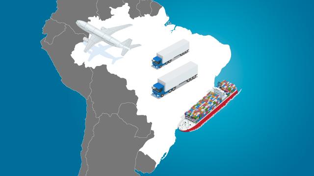 53% das exportações do Brasil para a América do Sul em 2014 ocorreram via transporte marítimo, 39% por transporte rodoviário e, 5%, aéreo