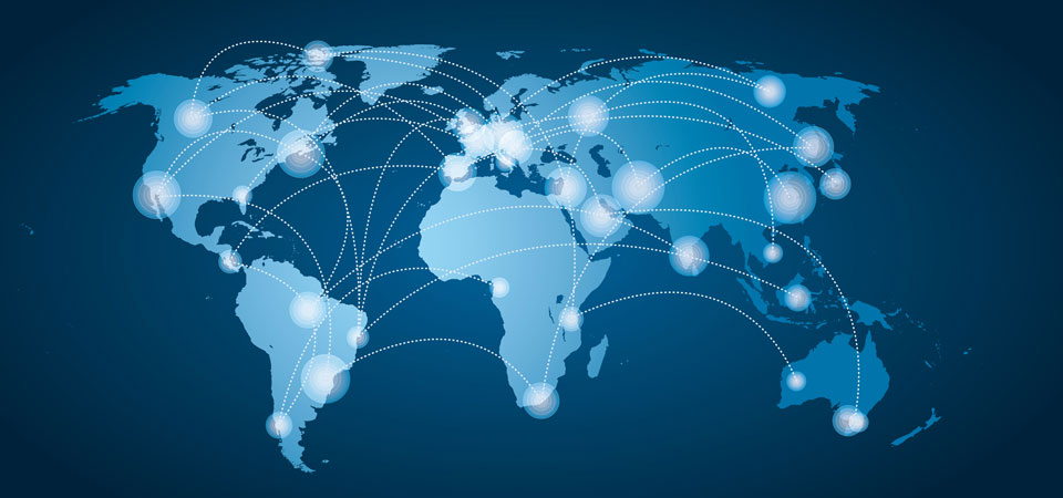 Mapa com lingações entre os países