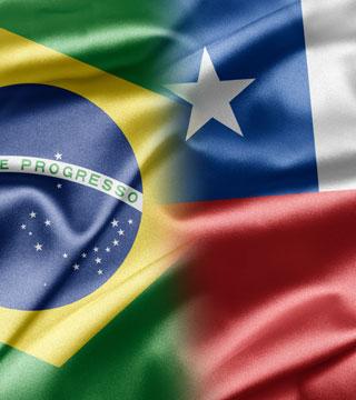 Bandeira Brasil e Chile