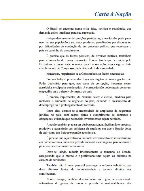 Carta à Nação - CNI, CNT, OAB e CNS